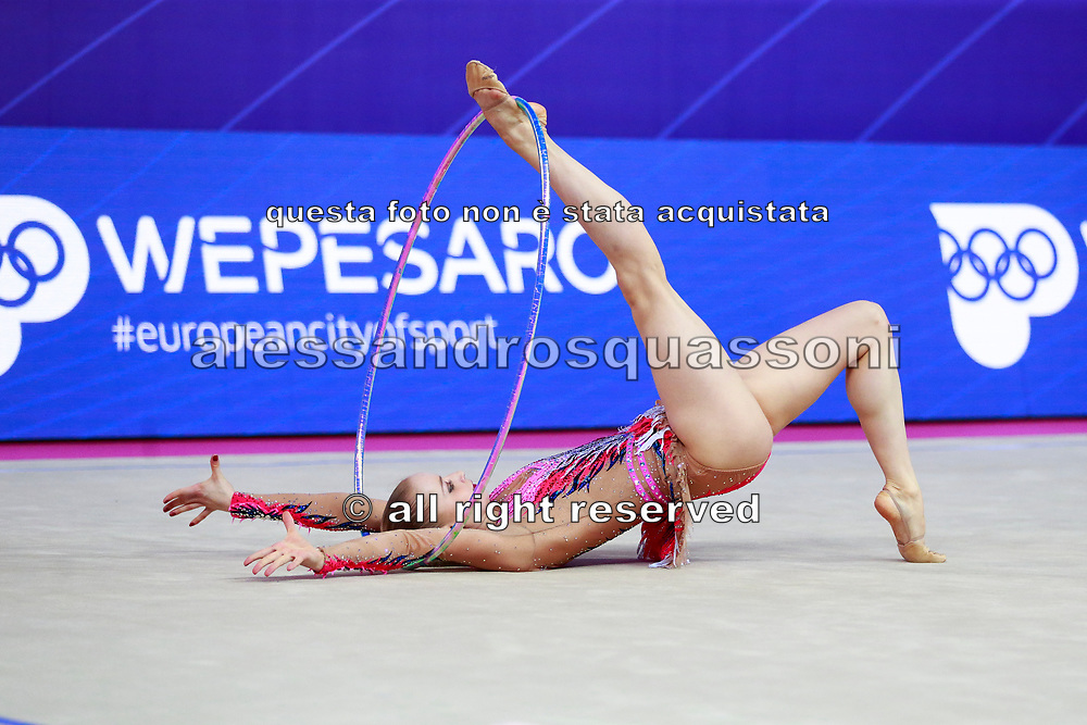 Jovenin Axelle during the qualification of the hoop at the Pesaro World Cup 2018.<br />