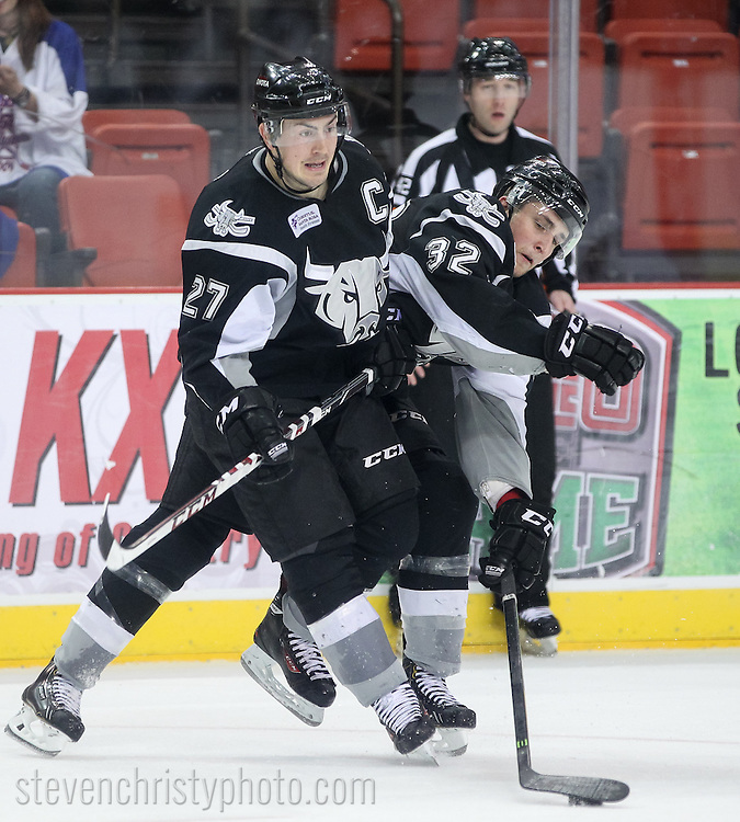 March 11, 2014: The Oklahoma City Barons play the San Antonio Rampage in an American Hockey League game at the Cox Convention Center in Oklahoma City.