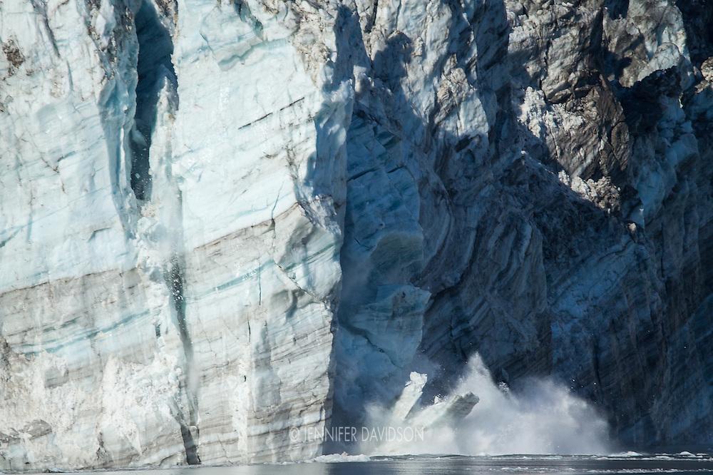 Calving at Johns Hopkins Glacier in Glacier Bay National Park, Alaska.