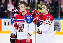 Vladimir Sobotka of Czech Republic and Petr Koukal of Czech Republic  look dejected after the Ice Hockey match between USA and Czech Republic at Third place game of 2015 IIHF World Championship, on May 17, 2015 in O2 Arena, Prague, Czech Republic. Photo by Vid Ponikvar / Sportida