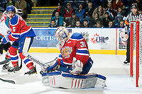 KELOWNA, CANADA, FEBRUARY 15: Laurent Brossoit #31 of the Edmonton Oil Kings makes a save at the Kelowna Rockets on February 15, 2012 at Prospera Place in Kelowna, British Columbia, Canada (Photo by Marissa Baecker/Shoot the Breeze) *** Local Caption ***