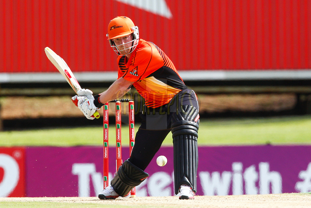 Paul Collingwood plasys a shot during match 19 of the Karbonn Smart CLT20 South Africa between The Perth Scorchers and The Auckland Aces held at Supersport Park Stadium in Centurion, South Africa on the 23rd October 2012..Photo by Rogan Ward/SPORTZPICS/CLT20