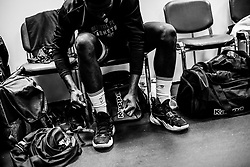 Daniel Edozie of Bristol Flyers prepares in the changing room prior to tip off - Photo mandatory by-line: Ryan Hiscott/JMP - 26/01/2020 - BASKETBALL - Arena Birmingham - Birmingham, England - Bristol Flyers v Worcester Wolves - British Basketball League Cup Final
