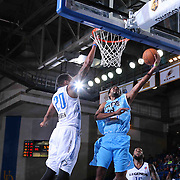 Delaware 87ers Guard DJ Seeley (18) drives towards the basket as Texas Legends Forward Eric Griffin (20) defends in the second half of a NBA D-league regular season basketball game between the Delaware 87ers and the Texas Legends (Dallas Mavericks) Sunday, Jan. 25, 2015 at The Bob Carpenter Sports Convocation Center in Newark, DEL