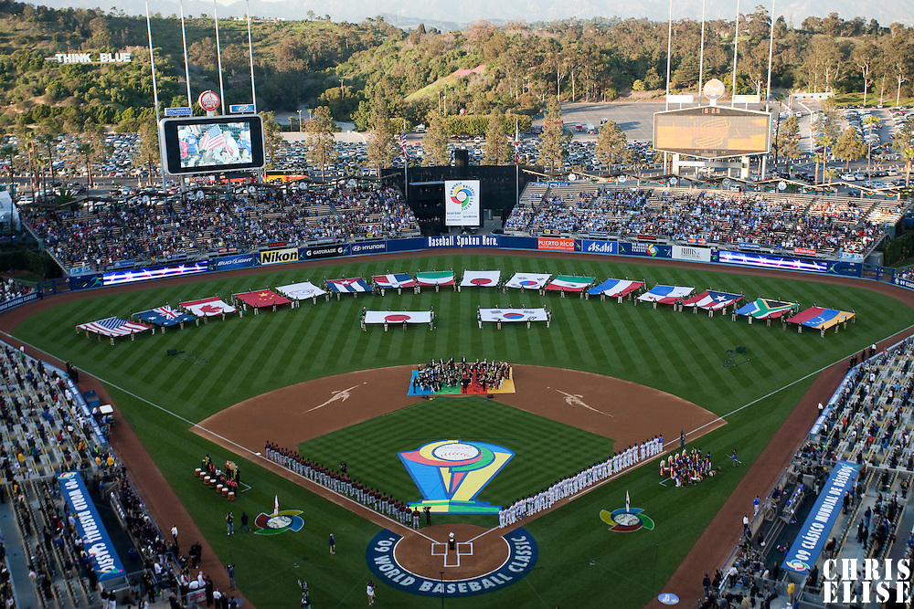23 March 2009: General view of the Dodger stadium during the opening ceremony  prior to the 2009 World Baseball Classic final game at Dodger Stadium in Los Angeles, California, USA. Japan defeated Korea 5-3