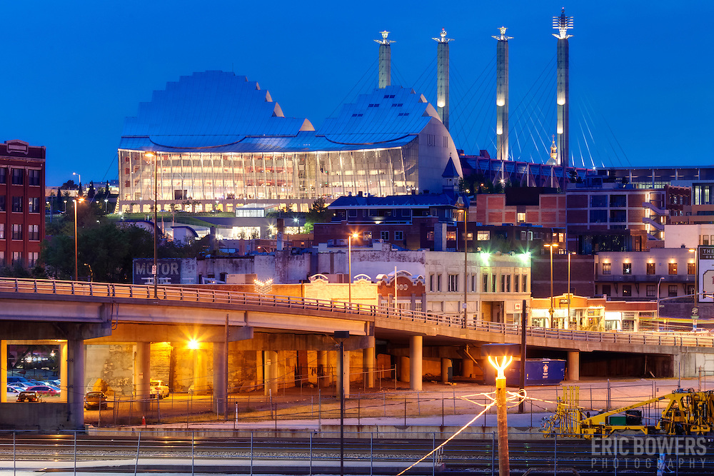 Kansas City's Kauffman Center for the Performing Arts at dusk with view of Crossroads District in foreground - taken from Washington Square Park.