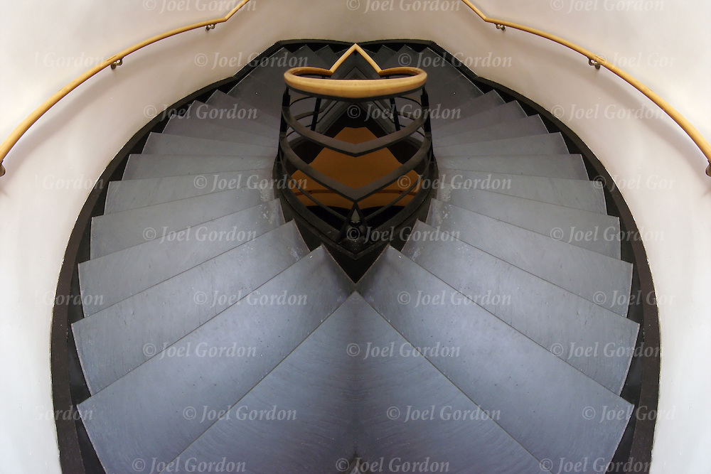 Mirror image of interior stairway to sucess in office building, stairs or step leading down