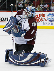 Feb 26, 2009; Newark, NJ, USA; Colorado Avalanche goalie Andrew Raycroft (1) makes a save during the second period at the Prudential Center.