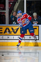 KELOWNA, CANADA - FEBRUARY 22: Jayden Platz #5 of the Edmonton Oil Kings warms up against the Kelowna Rockets on February 22, 2017 at Prospera Place in Kelowna, British Columbia, Canada.  (Photo by Marissa Baecker/Shoot the Breeze)  *** Local Caption ***