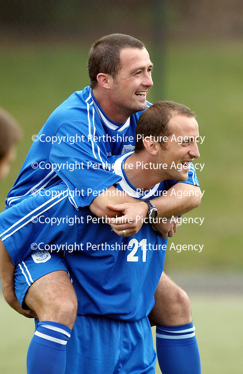 St Johnstone Training...06.08.04<br />Captain David Hannah gets a piggy back ride from new signing Paul Sheerin during training this morning.<br />see story by Gordon Bannerman Tel: 01738 553978 or 07729 865788<br />Picture by Graeme Hart.<br />Copyright Perthshire Picture Agency<br />Tel: 01738 623350  Mobile: 07990 594431