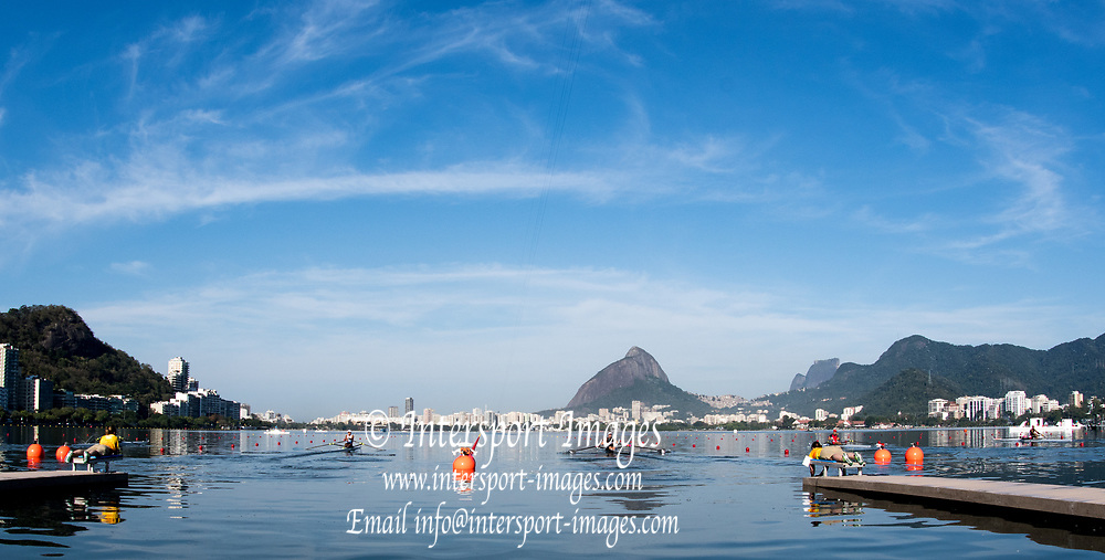 Rio de Janeiro. BRAZIL.   NZL M1X, Mahe DRYSDALE at the start for his heat.2016 Olympic Rowing Regatta. Lagoa Stadium,<br /> Copacabana,  &ldquo;Olympic Summer Games&rdquo;<br /> Rodrigo de Freitas Lagoon, Lagoa.    Saturday  06/08/2016 <br /> <br /> [Mandatory Credit; Peter SPURRIER/Intersport Images]