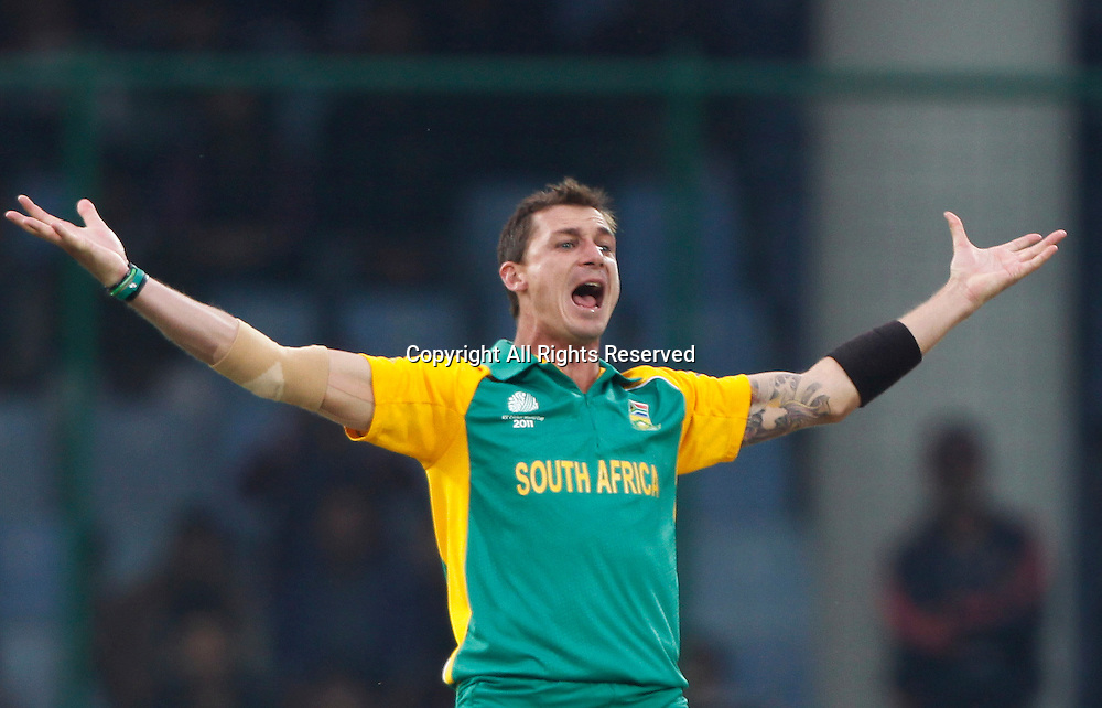 24.02.2011 Cricket World Cup from the Feroz Shah Kotla stadium in Delhi. South Africa v West Indies. Devon Smith of South Africa celebrates the wicket of  Sulieman Benn during the match of the ICC Cricket World Cup between South Africa and West Indies.