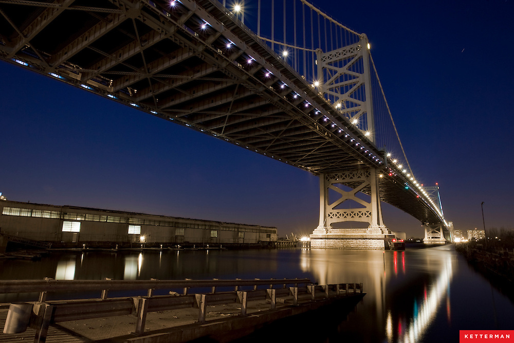 The Benjamin Franklin Bridge in Philadelphia, PA, looking towards New Jersey.