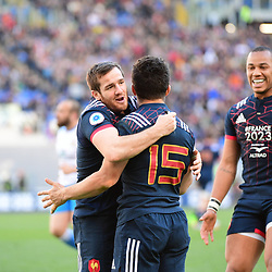 Brice Dulin of France (15) is congratulated by Camille Lopez of France  (left) and Gael Fickou of France (right) after he scores a try during the RBS Six Nations match between Italy and France at Olimpico Stadium on March 11, 2017 in Rome, Italy. (Photo by Dave Winter/Icon Sport)