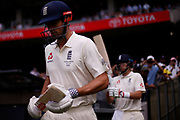 Alistair Cook and Joe Root walk onto the field to batduring day three of the Australia v England fourth test at the Melbourne Cricket Ground, Melbourne, Australia on 28 December 2017. Photo by Mark  Witte.