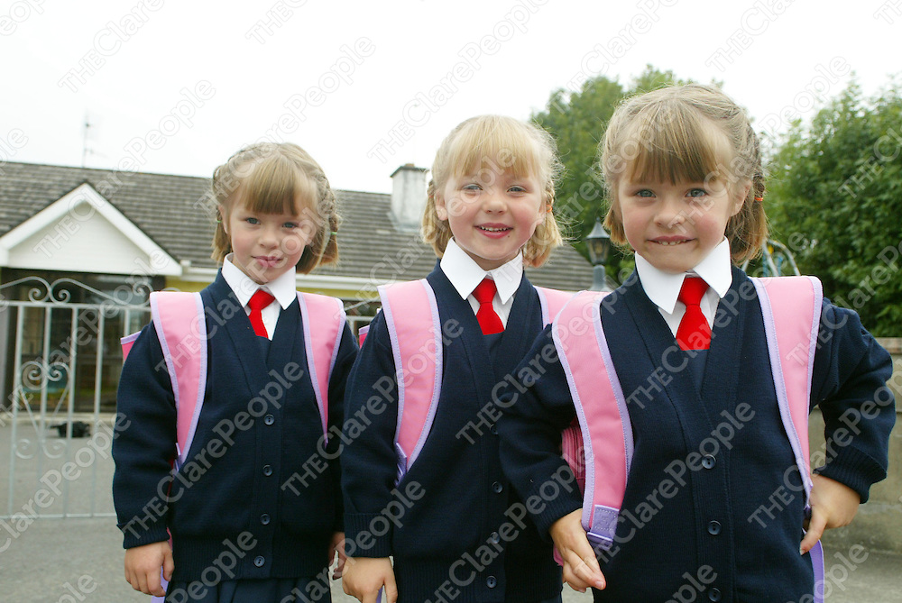 Lynda, Rachael and Susan (triplets aged 4) pictured getting ready for thier first day of school at thier home in Killaloe on Wednesday. They would be starting school in the Convent of Mercy School in Kilalloe on Thursday. Pic. Brian Arthur/ Press 22.