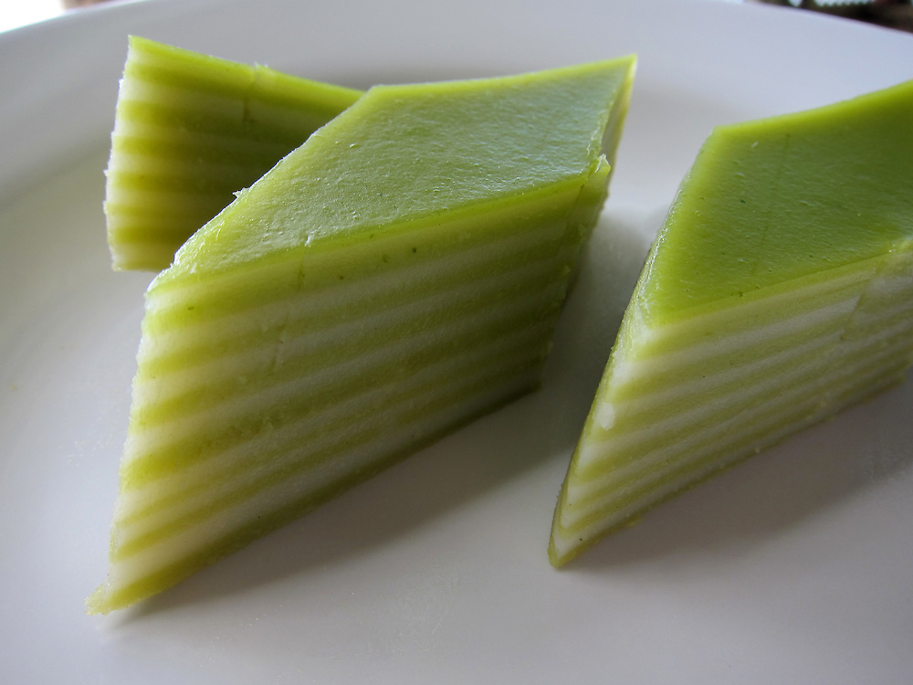 Kue balapis, an Indonesian layered dessert. This green version of the steamed cake is made with rice flour, pandan, sagu (sago), and coconut milk.
