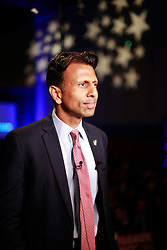 24 June 2015. Kenner, Louisiana.<br /> Louisiana Governor Bobby Jindal prepares to go live on Fox News after he announces his run for President of the United States during a political event at the Pontchartrain Center in Kenner, La.<br /> Photo©; Charlie Varley/varleypix.com