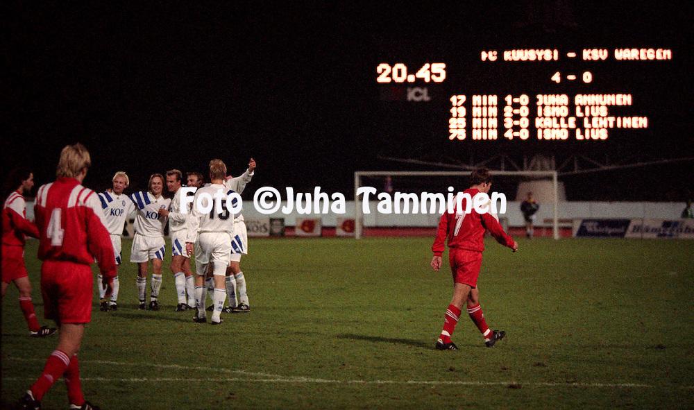 14.09.1993, Lahti, Finland.UEFA Cup, 1st round, 1 st leg match, FC Kuusysi Lahti v Waregem (Belgium).Kuusysi players celebrate the 4-0 win..©Juha Tamminen
