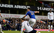 Leonardo Ulloa scores during the The FA Cup match between Tottenham Hotspur and Leicester City at White Hart Lane, London, England on 24 January 2015. Photo by Alan Franklin.