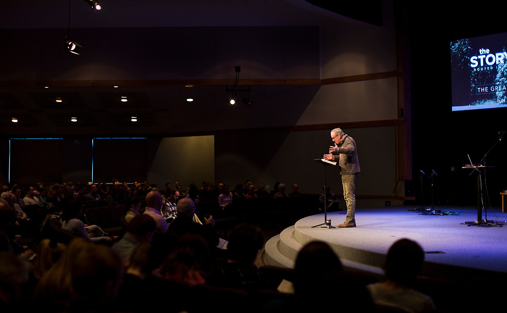 Lead Pastor Marc Maillefer speaks to the congregation during service at Door Creek Church in Cottage Grove, Wisconsin, Sunday, Feb. 4, 2018.
