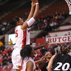 Feb 24, 2009; Piscataway, NJ, USA; Rutgers center Kia Vaughn (15) takes a shot during the first half of Rutgers' 71-53 victory over Cincinnati at the Louis Brown Athletic Center.
