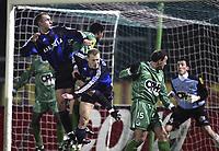 LA LOUVIERE 11/02/2004<br /> VOETBAL / FOOTBALL / SPORT<br /> LA LOUVIERE - CLUB BRUGGE / RAAL - FC BRUGGE / LA LOUVIEROISE - FC BRUGES /<br /> RUNE LANGE - MAREK SPILAR /<br /> PICTURE BY NICO VEREECKEN<br /> ©PHOTONEWS