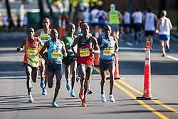 Boston Athletic Association Half Marathon; Lani Rutto pacing lead group of elite men near 5 miles