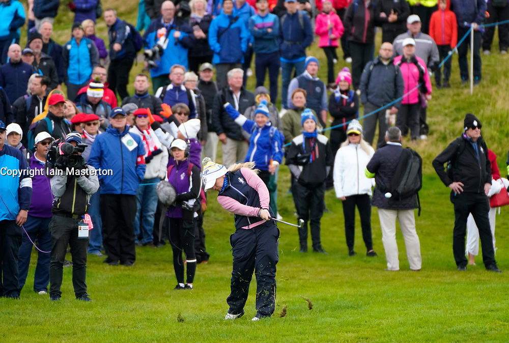 Auchterarder, Scotland, UK. 14 September 2019. Saturday morning Foresomes matches  at 2019 Solheim Cup on Centenary Course at Gleneagles. Pictured; Bronte Law of Team Europe plays approach from rough on the 3rd hole. Iain Masterton/Alamy Live News