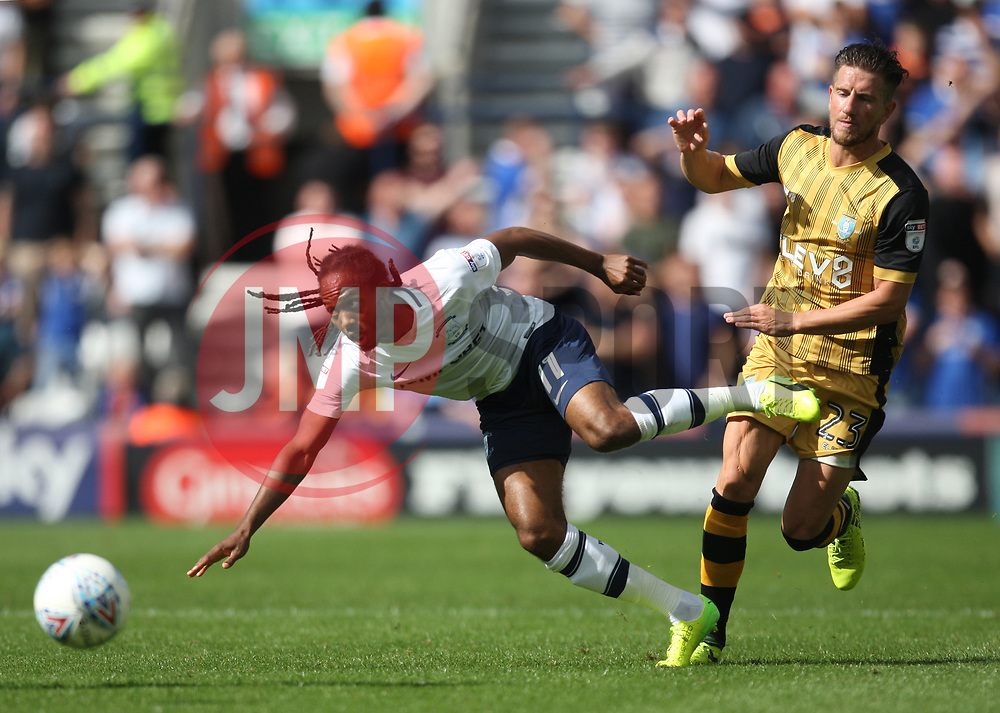 Daniel Johnson of Preston North End (L) and Sam Hutchinson of Sheffield Wednesday in action - Mandatory by-line: Jack Phillips/JMP - 05/08/2017 - FOOTBALL - Deepdale - Preston, England - Preston North End v Sheffield Wednesday - English Football League Championship