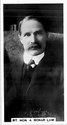 Arthur Bonar Law (1858-1923) Canadian-born Scottish Unionist statesman. British Prime Minister 1922-1923.  Photograph.