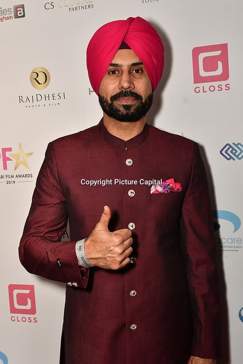Binnu Dhillon attend the BritAsiaTV Presents Kuflink Punjabi Film Awards 2019 at Grosvenor House, Park Lane, London,United Kingdom. 30 March 2019