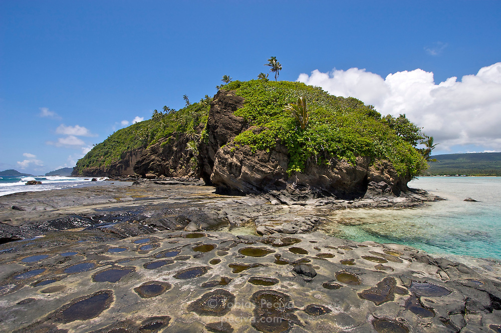 Side view of Namua Island, Western Samoa.