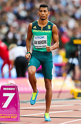 London, 2017 August 07. Wayde van Niekerk, South Africa, awaits the start of the men's 200m heats on day four of the IAAF London 2017 world Championships at the London Stadium. © Paul Davey.