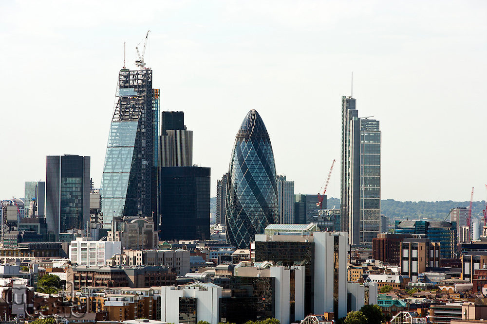 Elevated view of The Gherkin and surrounding buildings, London