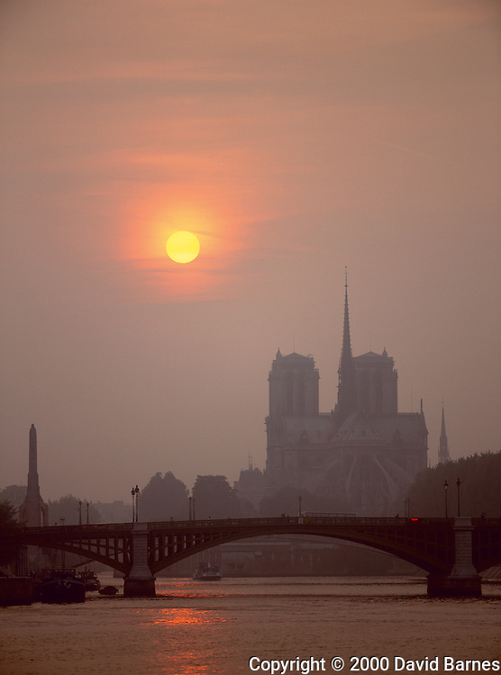Notre Dame Cathedral; River Seine; sunset;.Paris; France