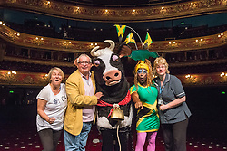 © Licensed to London News Pictures. 12/08/2013. CHRISTOPHER BIGGINS is joined by the St Joseph's Hospice nurses and pantomime characters from the Hackney Empire panto family to launch DAME DESH, a fundraising 1km run in aid of St Joseph's Hospice and Hackney Empire. Picture features: Christopher Biggins: Actor & St Joseph's Supporter, Carolyne Barber: Advanced Practice Nurse, St. Joseph's Hospice, Susie McKenna: Artistic Director Hackney Empire, Kate B, Hackney Empire pantomime star, and Daisy the cow. Photo credit: Tony Nandi/LNP