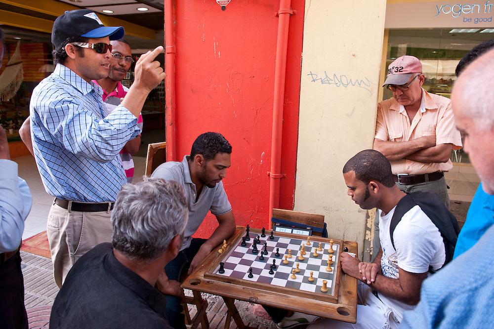 People playing Chess, Pedestrian Road, Calle El Conde Peatonal, Zona Colonial, Historic Center, Santo Domingo, Dominican Republic.