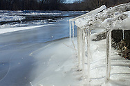 Montgomery, New York - Icicles hang from blocks of ice on the shore of the Wallkill River on Jan. 24, 2014.
