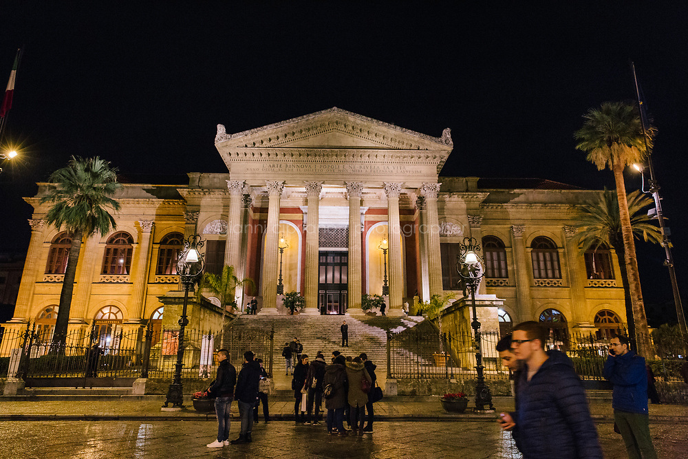 PALERMO, ITALY - 18 FEBRUARY 2018: A view of the Teatro Massimo in Palermo, Italy, on February 18th 2018.<br /> <br /> The Teatro Massimo Vittorio Emanuele is an opera house and opera company located  in Palermo, Sicily. It was dedicated to King Victor Emanuel II. It is the biggest in Italy, and one of the largest of Europe (the third after the Op&eacute;ra National de Paris and the K. K. Hof-Opernhaus in Vienna), renowned for its perfect acoustics. It was inaugurated in 1897.