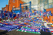 A view of the fans impromptu memorial on the gates of Ibrox Stadium, Glasgow, Scotland to Fernando Ricksen, the former Rangers player, who sadly passed away the day before the Europa League match between Rangers FC and Feyenoord Rotterdam on 19 September 2019.