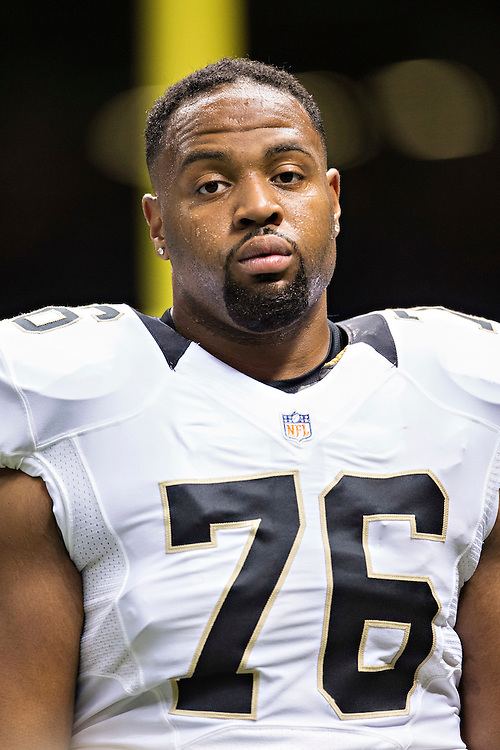 NEW ORLEANS, LA - SEPTEMBER 20:  Akiem Hicks #76 of the New Orleans Saints warming up before a game against the Tampa Bay Buccaneers at Mercedes-Benz Superdome on September 20, 2015 in New Orleans Louisiana.  The Buccaneers defeated the Saints 26-19.  (Photo by Wesley Hitt/Getty Images) *** Local Caption *** Akiem Hicks