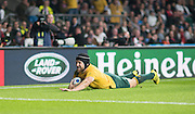 Twickenham, Great Britain,     Matt GITEAU, touches down in the closing stage of the  Pool A game, England vs Australia.  2015 Rugby World Cup, Venue, RFU Stadium, Twickenham, Surrey, ENGLAND.  Saturday  03/10/2015<br /> Mandatory Credit; Peter Spurrier/Intersport-images]