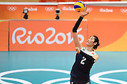 RIO DE JANEIRO, BRAZIL - AUGUST 16:<br /> <br /> Ting Zhu #2 of China in action during the Women\'s Quarterfinal match between China and Brazil on day 11 of the Rio 2106 Olympic Games at the Maracanazinho on August 16, 2016 in Rio de Janeiro, Brazil.<br /> ©Exclusivepix Media