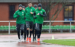 06.01.2014, Weserstadion, Bremen, GER, 1. FBL, SV Werder Bremen, Training, im Bild nkvd, Lukas Schmitz (Bremen #13), Philipp Bargfrede (Bremen #44), Torben Rehfeldt, Luca Caldirola (SV Werder Bremen #3), Aaron Hunt (Bremen #14) beim Laktattest // nkvd, Lukas Schmitz (Bremen #13), Philipp Bargfrede (Bremen #44), Torben Rehfeldt, Luca Caldirola (SV Werder Bremen #3), Aaron Hunt (Bremen #14) beim Laktattest during the training session of the German Bundesliga Club SV Werder Bremen at the Weserstadion in Bremen, Germany on 2014/01/06. EXPA Pictures © 2014, PhotoCredit: EXPA/ Andreas Gumz<br /> <br /> *****ATTENTION - OUT of GER*****