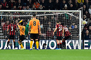 Goal - Aaron Ramsdale (12) of AFC Bournemouth is beaten as Joao Moutinho (28) of Wolverhampton Wanderers scores a goal to give a 0-1 lead to the away team  during the Premier League match between Bournemouth and Wolverhampton Wanderers at the Vitality Stadium, Bournemouth, England on 23 November 2019.
