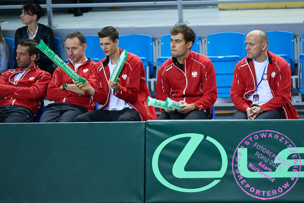 (L-R) trainer assistant Aleksander Charpantidis and stringer Piotr Chomicki and Hubert Hurkacz and Jerzy Janowicz and physiotherapist Piotr Grabek all from Poland during third day the Davies Cup / Group I Europe / Africa 1st round tennis match between Poland and Lithuania at Orlen Arena on March 8, 2015 in Plock, Poland<br /> Poland, Plock, March 8, 2015<br /> <br /> Picture also available in RAW (NEF) or TIFF format on special request.<br /> <br /> For editorial use only. Any commercial or promotional use requires permission.<br /> <br /> Mandatory credit:<br /> Photo by &copy; Adam Nurkiewicz / Mediasport