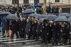 R-L Brigitte Macron, Emmanuel Macron, Angela Merkel, King Mohammed VI of Morocco, Jean-Claude Junker, King Felipe VI of Spain and other world leaders walk to Arc de Triomphe during a ceremony gathering heads of State around French president Emmanuel Macron to commemorate the 100th year of end of World War I, on November 11, 2018 in Paris, France. Photo by Ammar Abd Rabbo/ABACAPRESS.COM