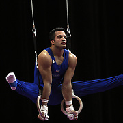Danell Leyva, Homestead, Florida, in action on the Still Rings during the Senior Men Competition at The 2013 P&G Gymnastics Championships, USA Gymnastics' National Championships at the XL, Centre, Hartford, Connecticut, USA. 16th August 2013. Photo Tim Clayton