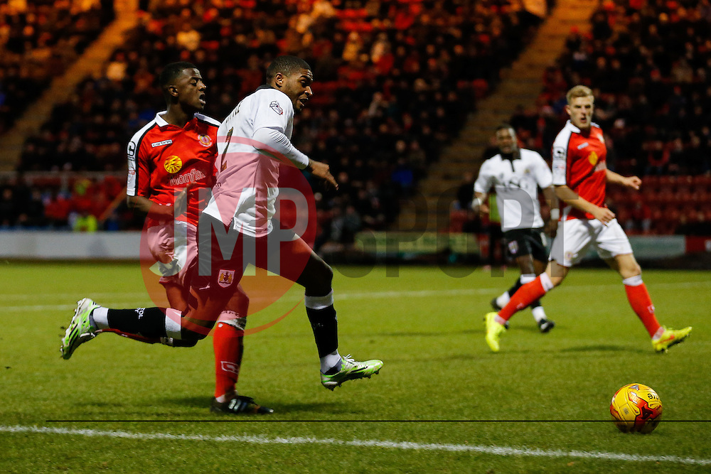 Mark Little of Bristol City is challenged by Greg Leigh of Crewe Alexandra - Photo mandatory by-line: Rogan Thomson/JMP - 07966 386802 - 20/12/2014 - SPORT - FOOTBALL - Crewe, England - Alexandra Stadium - Crewe Alexandra v Bristol City - Sky Bet League 1.